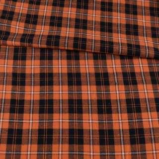 Фланель рубашечная оранжевая в черно-белую клетку, ш.150