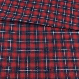 Фланель рубашечная красная в сине-белую клетку, ш.150