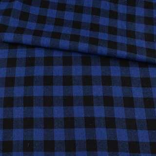Фланель рубашечная синяя ультра в черную клетку 20мм, ш.145