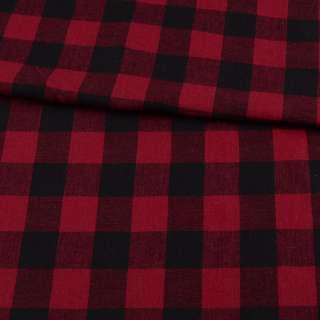 Фланель рубашечная в красно-черную клетку с малиновым оттенком, ш.145