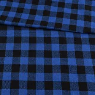 Фланель рубашечная синяя ультра в черную клетку 25х25мм, ш.145