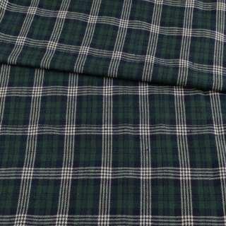 Фланель рубашечная синяя темная в зелено-белую клетку, ш.145