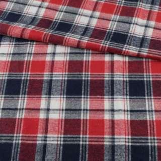 Фланель рубашечная красная в сине-белую клетку ш.148