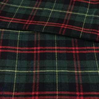 Фланель рубашечная зеленая в черно-красную, желтую клетку ш.145