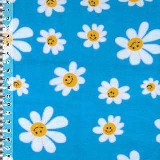 Фланель синяя светлая с белыми ромашками ш.110