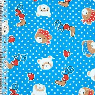 Фланель синяя с мишками LOVE ш.110