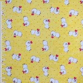 Фланель желтая с цыплятами ш.105