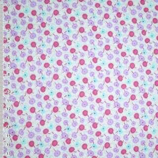 Фланель белая с фиолетово-малиновыми ягодами ш.110