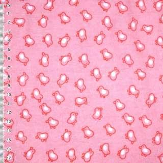 Фланель розово-красная птички ш.110