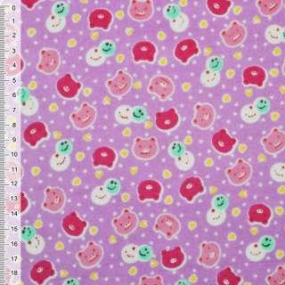 Фланель сиреневая светлая с разноцветными мордочками ш.110