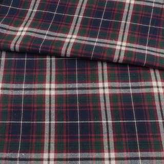 Фланель рубашечная синяя темная в зелено-бело-бордовую клетку, ш.140