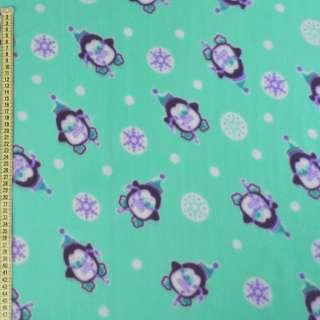 Флис бирюзовый, пингвины и снежинки, ш.170