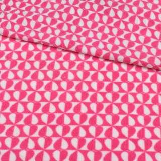 Флис розово-белые сердца на шахматке ш.190