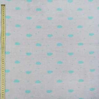 Флис серый светлый в бирюзовые овалы, ш.168