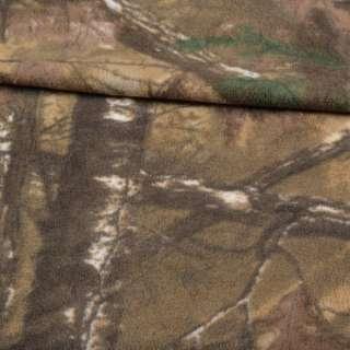 Флис камуфляжный песочно-зеленый с листьями ш.165