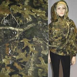 Флис камуфляж с листьями коричнево-болотный ш.160
