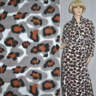 Флис молочный в терракотово-черный принт леопард ш.160