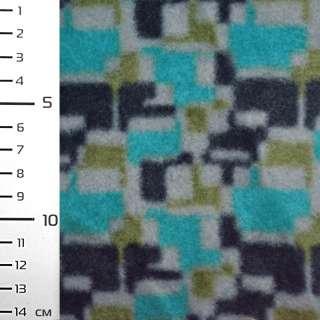 Флис бирюзовый в серо-черный геометрический принт ш.160
