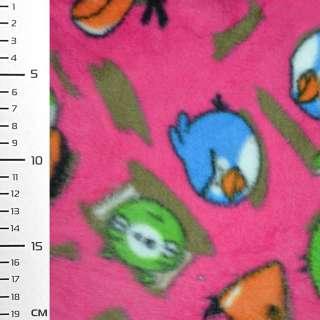 Флис розовый яркий Аngry Birds ш.160