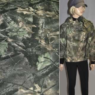 Флис с листьями болотно-бежевый ш.160