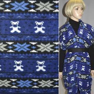 Флис в сине-черные полоски с мишками и снежинками ш.165