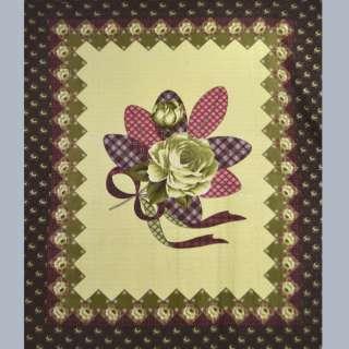 Флис кремовый с желто-оливковой розой и бордовой каймой