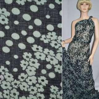 Креп полушерстяной черный с серыми цветами ш.140