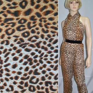 Креп полушерстяной молочно-коричневый принт леопард ш.140