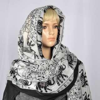 Марлевка бело-черная со-слонами ш.180