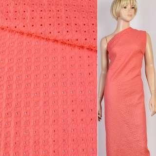 Шитье коралловое хлопок с вышивкой квадраты ш.145