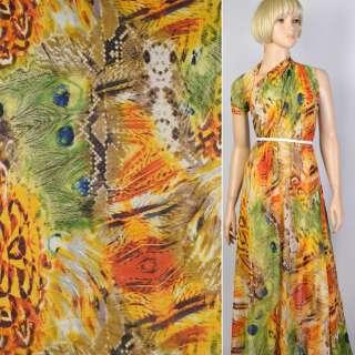 Креп-шифон оранжевый в павлиньи перья (купон) ш.150