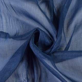 Шифон блестящий жатый синий темный ш.150