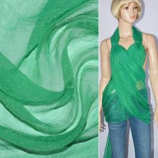 Шифон блестящий жатый бирюзово-зеленый ш.150