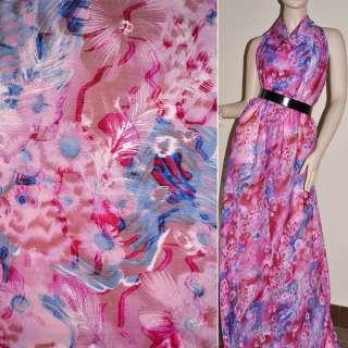 Шифон орари розовый в голубые и белые перья ш.150