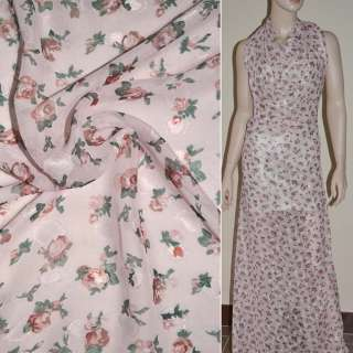Шифон орари бледно-розовый с коричневыми цветами ш.150