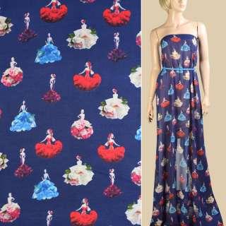 Креп-шифон синий темный, девушки в цветочных платьях, ш.148