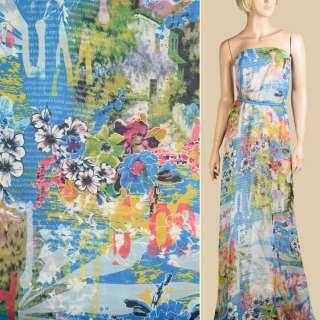 Шифон голубой газета, белые, розовые цветы, ш.145
