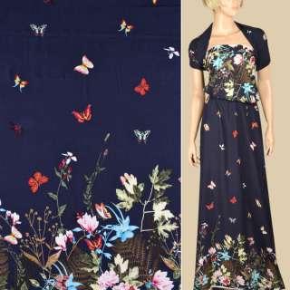 Штапель синий, бело-розовые цветы, бабочки, 2ст.купон, ш.140