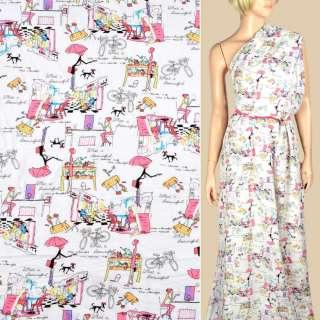 Штапель белый, девушки с розовыми зонтиками, ш.145