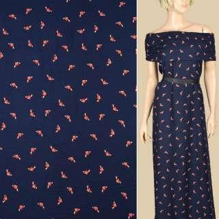 Штапель синий темный, оранжевые рыбки, ш.145