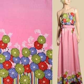 Штапель розовый, сиреневые, салатовые, красные цветы, 2ст.купон, ш.143