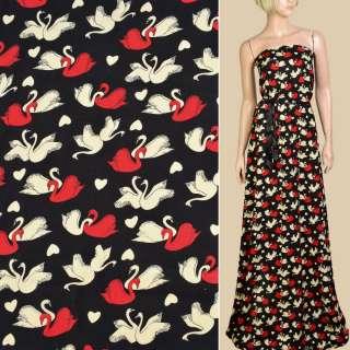 Штапель* черный, кремовые, красные лебеди, ш.140