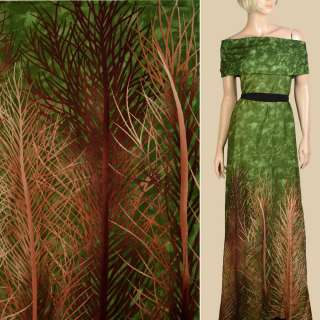 Штапель* зеленый, бежевые, коричневые ветки, 1ст.купон, ш.143