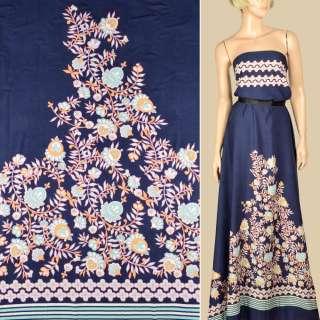 Штапель* синий, кайма в полоску и бело-желтые цветы, 1ст.купон, ш.145