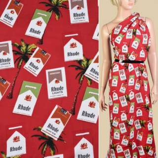 Штапель* красный, пачки сигарет, пальмы, ш.140