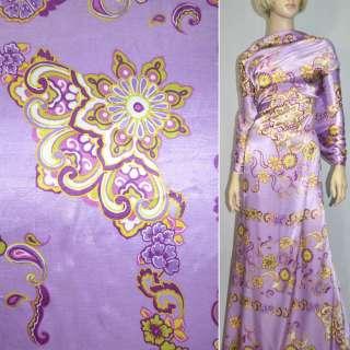 Атлас стрейч сиреневый с цветочным орнаментом