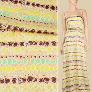Вискоза атласная бежевая светлая, лимонно-коричневый абстрактный узор, ш.140