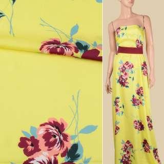 Вискоза атласная лимонно-желтая, бордово-персиковые цветы, ш.140
