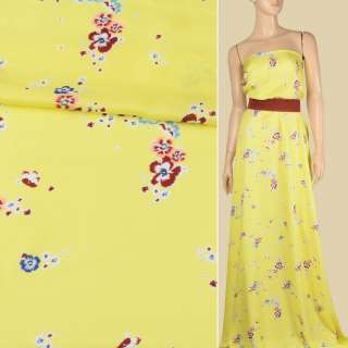 Вискоза атласная лимонно-желтая, мелкие бордово-персиковые цветы, ш.140