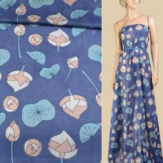 Батист синий в персиковые, бирюзовые кувшинки ш.147